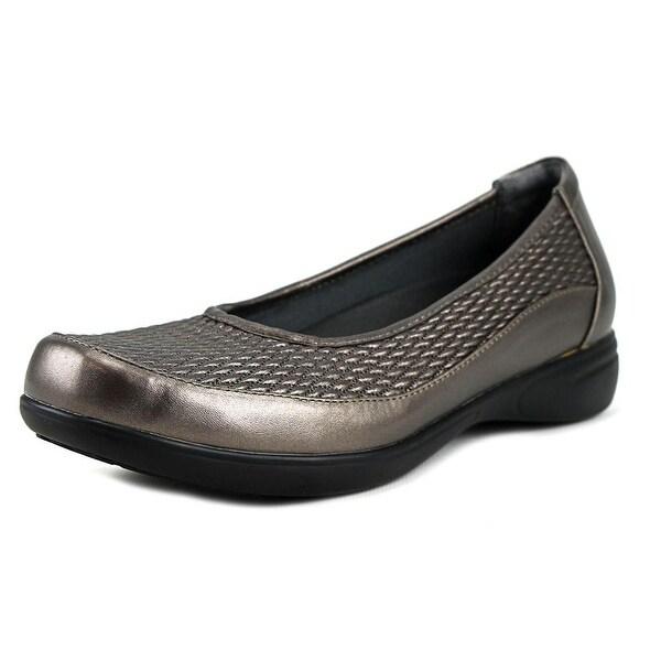 FootSmart Karen Women WW Round Toe Leather Gray Loafer