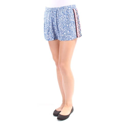 FRENCH CONNECTION Womens Blue Pocketed Tie Floral Short Size: 8