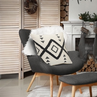 Link to LR Home Black and Cream Tufted Geometric Diamond Throw Pillow Similar Items in Decorative Accessories
