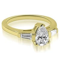 1.00 cttw. 14K Yellow Gold Pear and Baguette Three Stone Diamond Engagement Ring