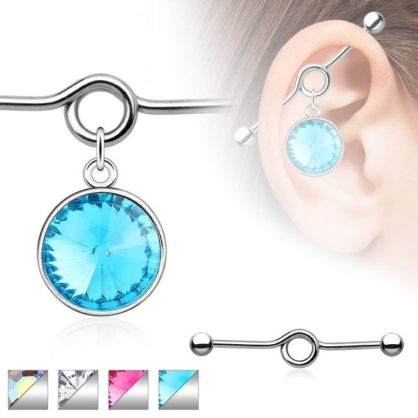 Large Round Gem Charm Dangle Industrial Barbell (Sold Individually)