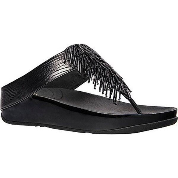 0208da3b9ded Shop FitFlop Women s Cha Cha Thong Sandal Black Embossed Leather ...