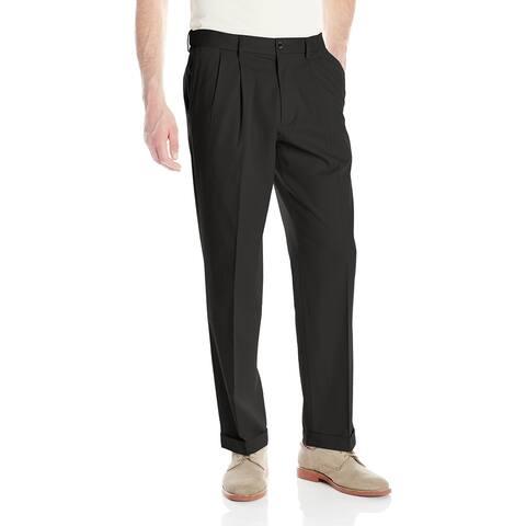 Dockers Mens Pants Black Size 44X30 Khakis Non-Wrinkle Pleated Stretch