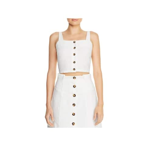 Lucy Paris Womens Lauren Crop Top Square Neck Adjustable