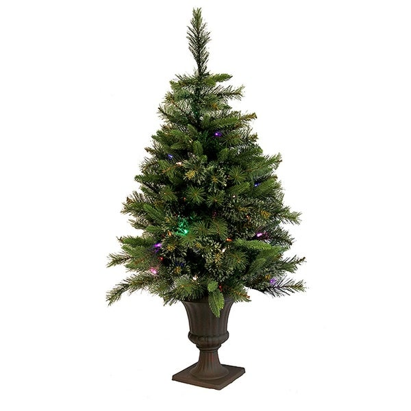 3.5' Pre-Lit Battery Operated Cashmere Potted Christmas Tree - Multi LED Lights - green
