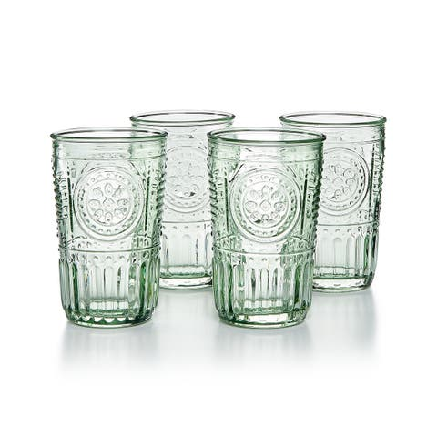 Bormioli Rocco Romantic Glass Drinking Tumbler Victorian Inspired 10.25 Oz Set Of 4 - Pastel Green - Pastel Green