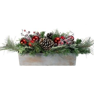 "26"" Mixed Pine, Ornament, Pine Cone and Berry Artificial Christmas Arrangement in Galvanized Planter - N/A"