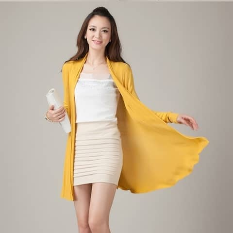Hollow In Women's Knitted Cardigan Sweater Shawl Long Coat