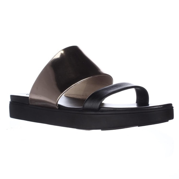 Via Spiga Carita Slide Flat Sandals, Gold/Black