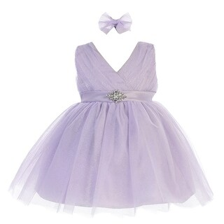 Baby Girls Lilac Glitter Tulle V-Neck Rhinestone Brooch Flower Girl Dress