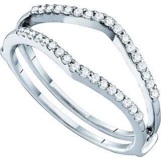 14k White Gold Natural Diamond Womens Bridal Wedding Ring Guard Enhancer 1/4 Cttw