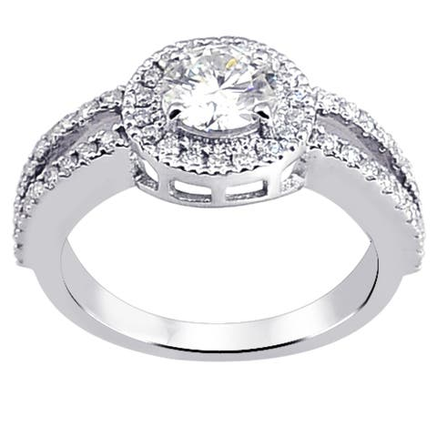 Moissanite Sterling Silver Round Halo Ring by Sparklezz