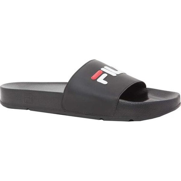 5b46cdc31 Shop Fila Men s Drifter Slide Black White Fila Red - On Sale - Ships ...
