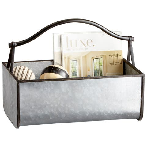 "Cyan Design 09847 Galway 12"" Wide Metal Magazine Rack - Galvanized"