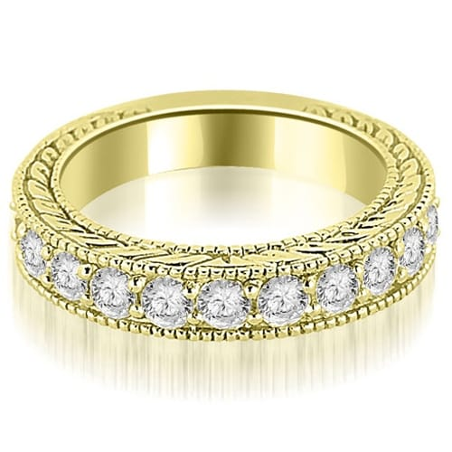 1.10 cttw. 14K Yellow Gold Antique Round Cut Diamond Wedding Band