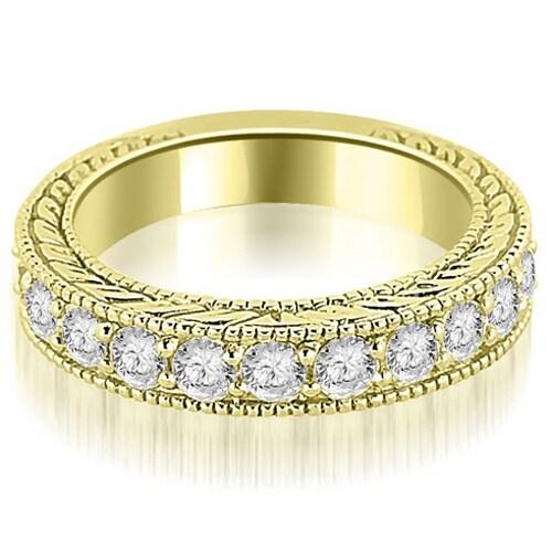1.10 cttw. 14K Yellow Gold Antique Round Cut Diamond Wedding Band