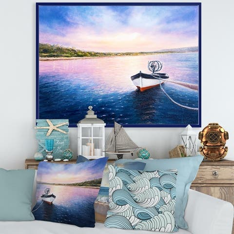 Designart 'Fishing Boat By The Shore During VIbrant Sunset' Lake House Framed Canvas Wall Art Print