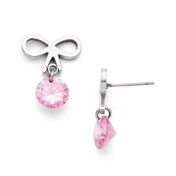 Chisel Stainless Steel Bow with Pink CZ Polished Post Earrings