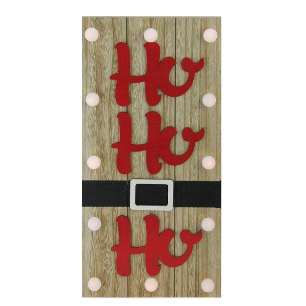"""15.75"""" Lighted Brown and Candy Apple Red """"HO HO HO"""" Santa Belt Wall Decor"""