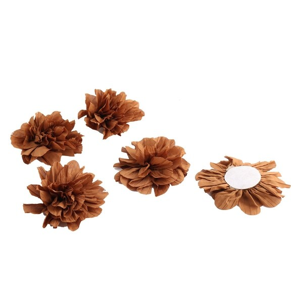 Home Birthday Party Decor Fabric Artificial Handcraft DIY Flower Brown 5 Pcs