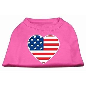 8fe9b4bd5b64 Shop American Flag Heart Screen Print Shirt Bright Pink Sm (10 ...