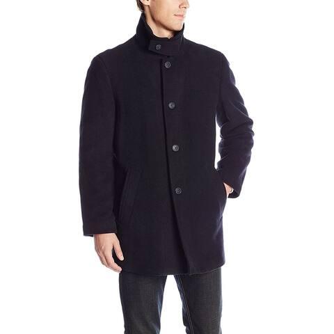 Calvin Klein Mens Coat Black Size 46R Single Breasted Layered Zip Wool
