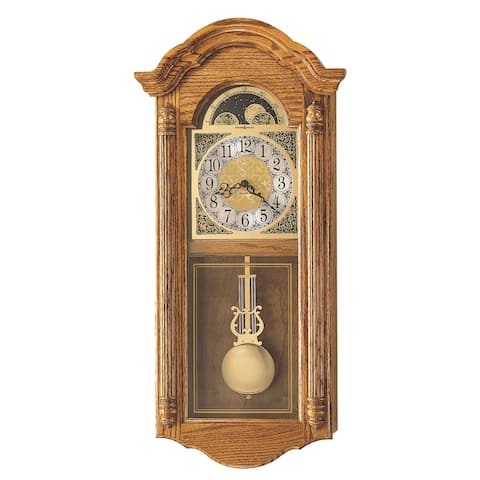 Howard Miller Fenton Grandfather Clock Style Chiming Wall Clock with Pendulum, Vintage, Old World, Classic Design