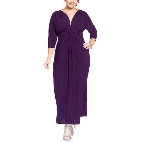 Love Squared Womens Plus Evening Dress Matte Jersey 3/4 Sleeves
