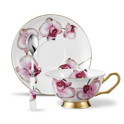Panbado Bone China Floral Decals Tea Cup with Saucer Spoon
