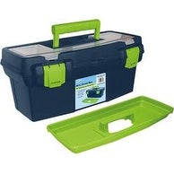 "15.9""X8""X7"" Blue & Green - Pro Art Storage Box W/Organizer Top"