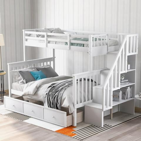 Stairway Twin-Over-Full Bunk Bed with Drawer