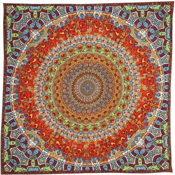 Unique Handmade Cotton Grateful Dead Vibrating Bear Mandala Bandana Scarf 22x22