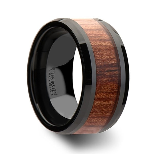 Denali Black Ceramic Wedding Band With Bevels And Rosewood Inlay 12mm
