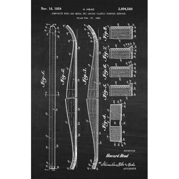 Ski Patent Poster (White on Chalkboard) - Sports Patents - 24x16 Poster