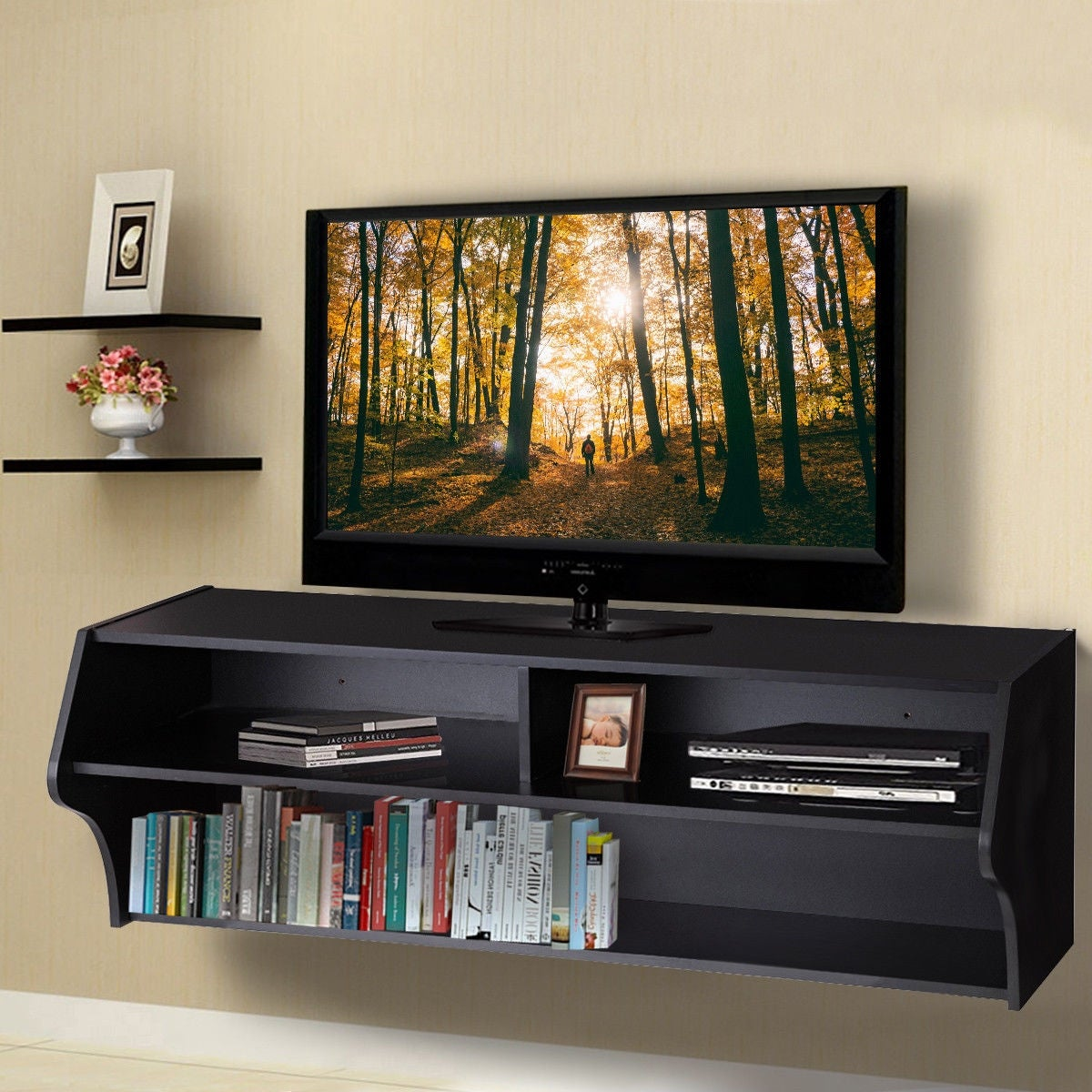 Costway 48.5\'\' Wall Mounted Audio/Video TV Stands Console Living Room  Furniture W/Shelves