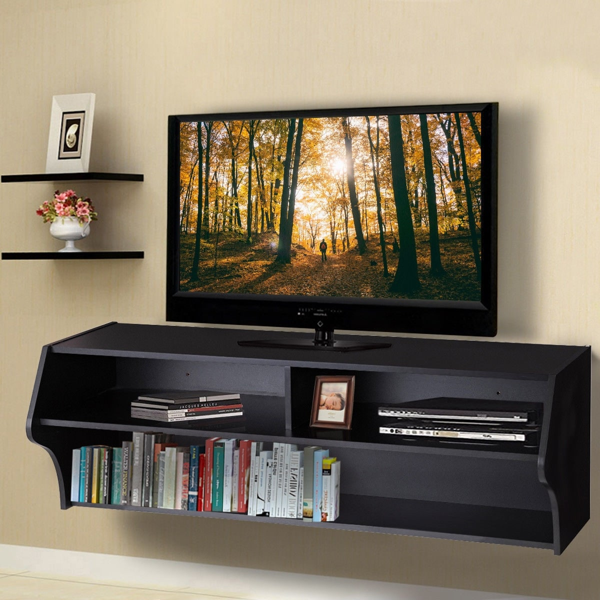 48 5 Wall Mounted Tv Console Floating Audio Video Cabinet With 2 Shelves New