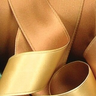 """Dijon & Gold Two-Tone Double Face Satin French Wired Decorative Polyester Craft Ribbon 1"""" x 54 Yards"""