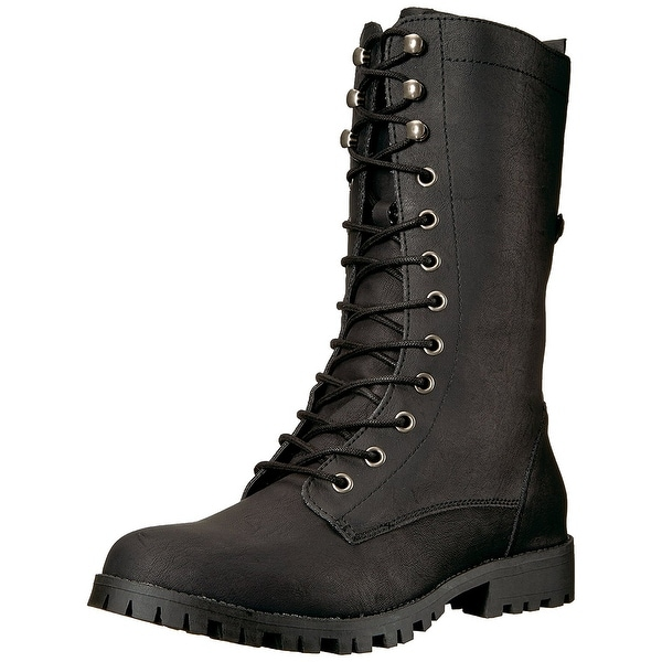 black lace up mid calf boots