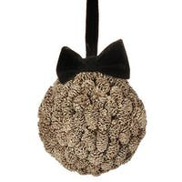 """5"""" Gold Metallic Pine Cone Ball with Black Bow Christmas Ornament - brown"""