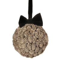 "5"" Gold Metallic Pine Cone Ball with Black Bow Christmas Ornament - Brown"