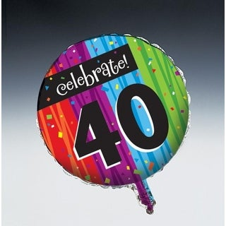 "Club Pack of 12 Milestone Celebrations Metallic ""Happy Birthday"" ""40"" Foil Party Balloons"