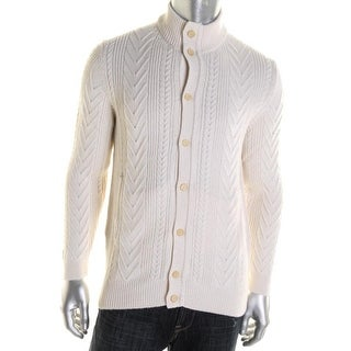 Hickey Freeman Mens Cable Knit Button Front Cardigan Sweater - XL