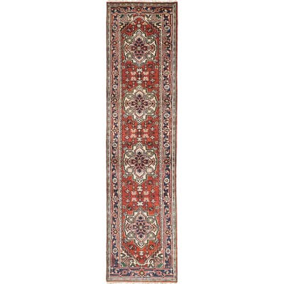 """ECARPETGALLERY Hand-knotted Serapi Heritage Copper, Blue Wool Rug - 2'7"""" x 10'1"""" Runner"""