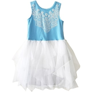 BNY Corner Sleeveless Beautiful Screen Prints Tulle Special Occasion Dress Blue