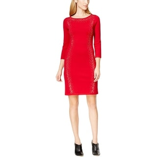 Calvin Klein Womens Petites Sweaterdress Embellished 3/4 Sleeves