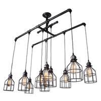 Industrial Metal 10-Light Linear Chandelier for Kitchen