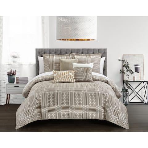 Chic Home Jodi 6 Piece Chenille Geometric Patterns Design Comforter, Beige