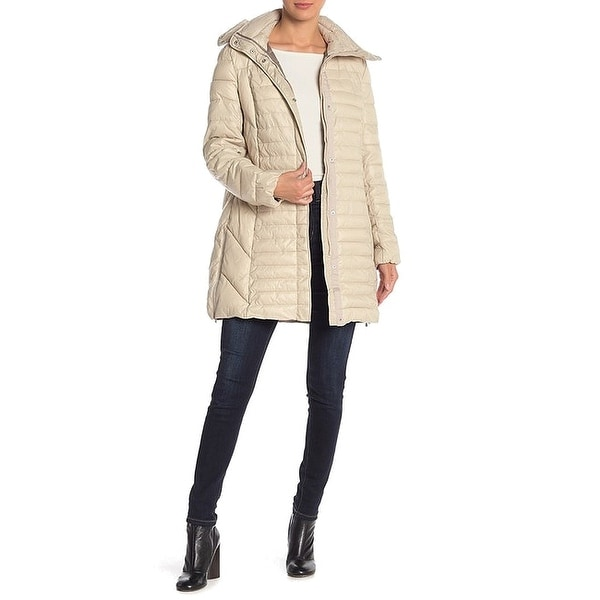 Kenneth Cole Beige Womens Size Medium M Quilted Removable Hood Coat