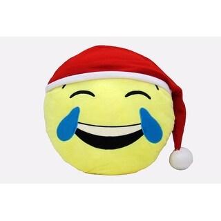 Emoji Emoticon Holiday Decorative Throw Pillow, Tears of Joy