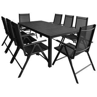vidaXL Outdoor Dining Set Table and Chair 9 Piece WPC Garden Patio